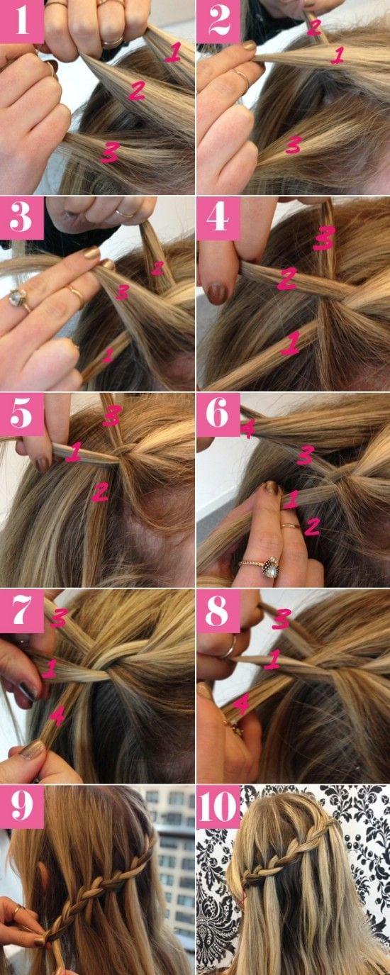 Waterfall Braid – 12 Super Cute DIY Christmas Hairstyles for All Lengths Source by Kumari3Jaya   …