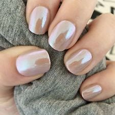20x Hand Painted Nude Mirror Chrome Gel Petite False Nails Source by hatice5038   …