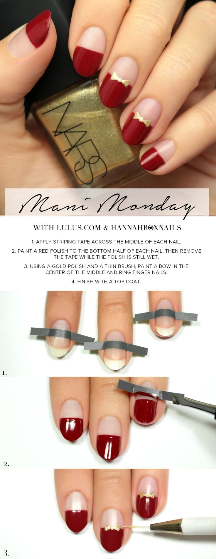 Mani Monday: Red and Gold Bow Nail Tutorial | Lulus.com Fashion Blog | Bloglovin' Source by lovemarian   …