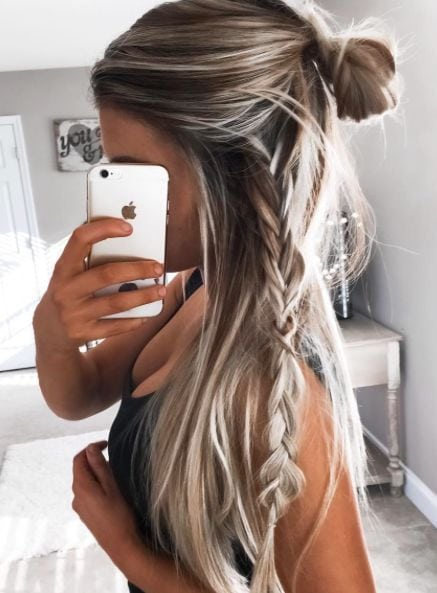 Not a fan of the braid but the messy half up/half down bun is cute Image source Source by sslaterus   …