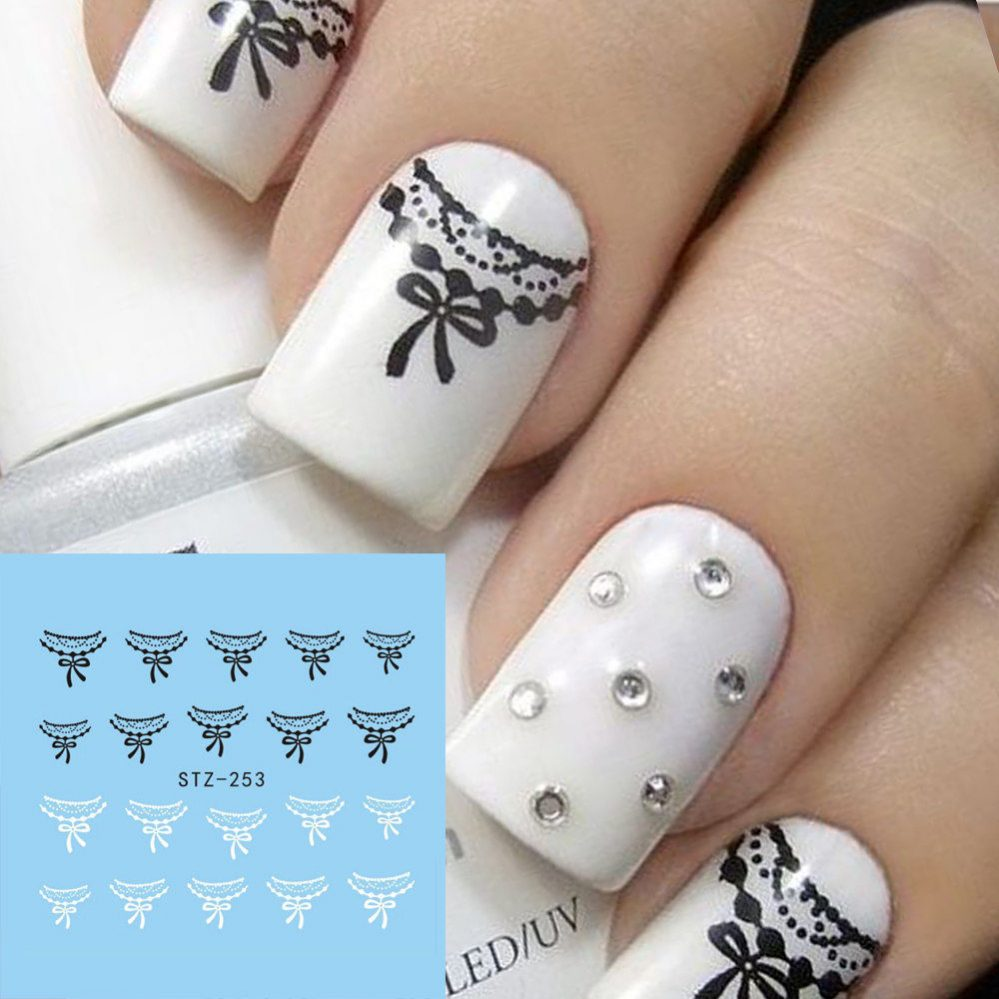 ❤️STICKERS WATER DECALS DENTELLE BIJOUX ONGLES + 100 STRASS NAIL ART MANUCURE