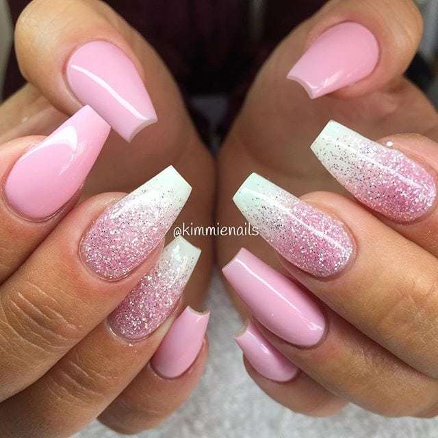 """Innocent pink, & pink glitter """"rain"""" for my sweet hairdresser @hairbymli ❤️… Source by sannedappers   …"""