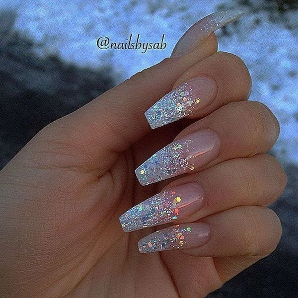 Holo Glitter Tip Long Coffin Nails. Source by JennAudii   …