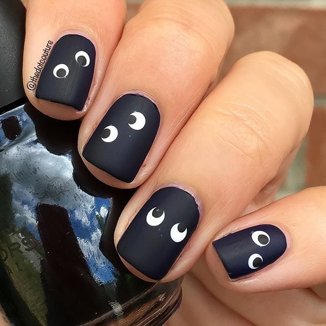 Spooky matte google-eye monster Halloween nail art. Source by jisss8   …