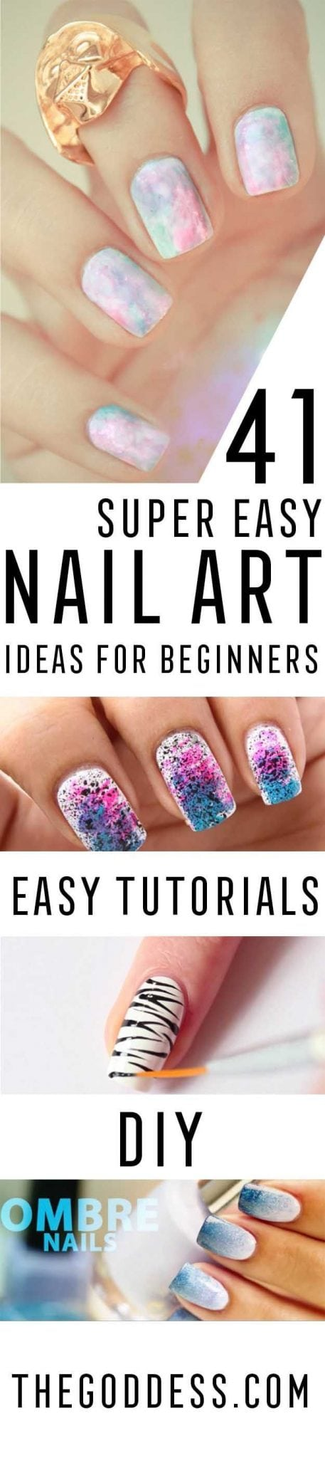 Super Easy Nail Art Ideas for Beginners – Simple Step By Step DIY Tutorials And Pictures For Nailart.  Ideas For Every Style, All Hair Colors, Sparkle, Valentines, And other Awesome Products To Make It DIY and Super Easy -…