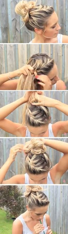 Easy DIY Hairstyles for The Beach | Messy Bun Image source Source by fleur6133   …