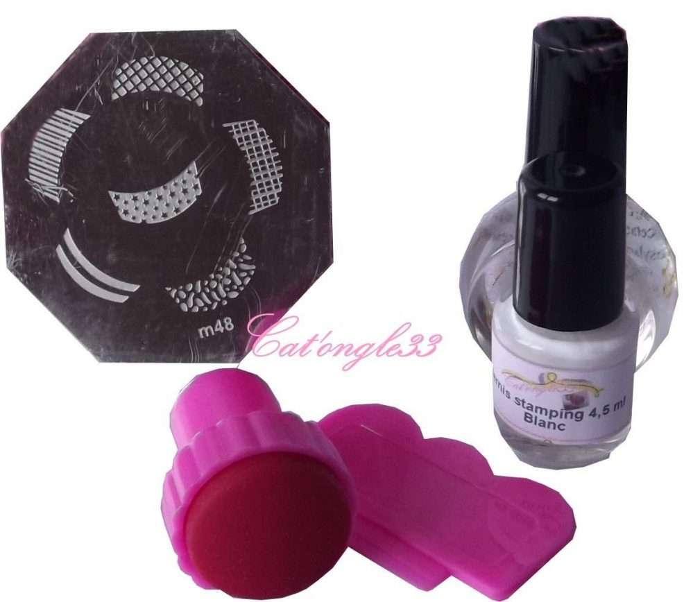 Kit ongle stamping nail 1 plaque, 1 vernis, tampon raclette, finition