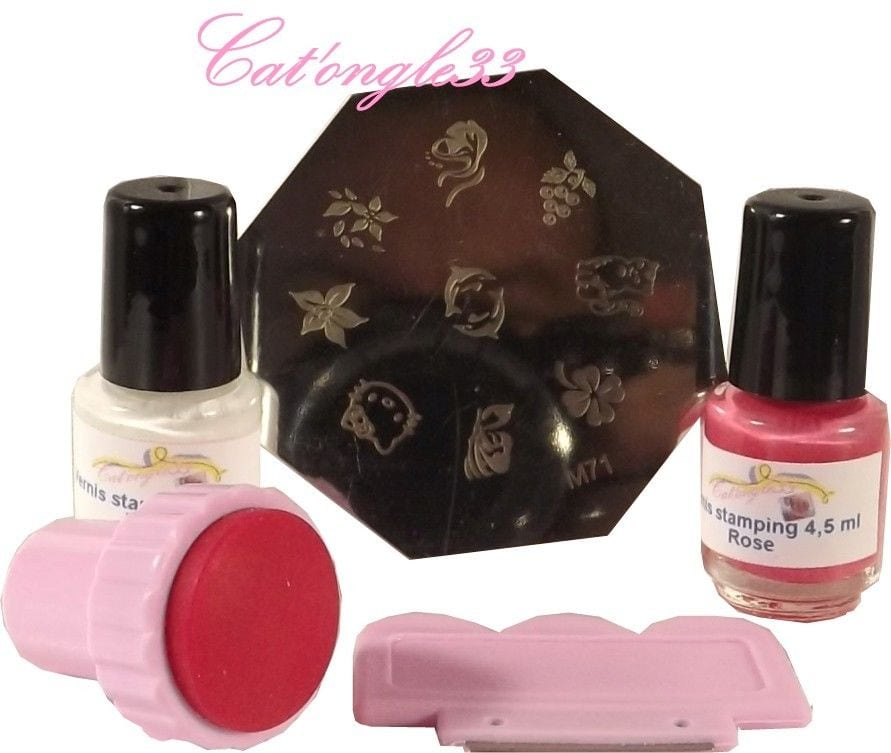 Kit ongle stamping nail 1 plaque, 2 vernis, tampon raclette