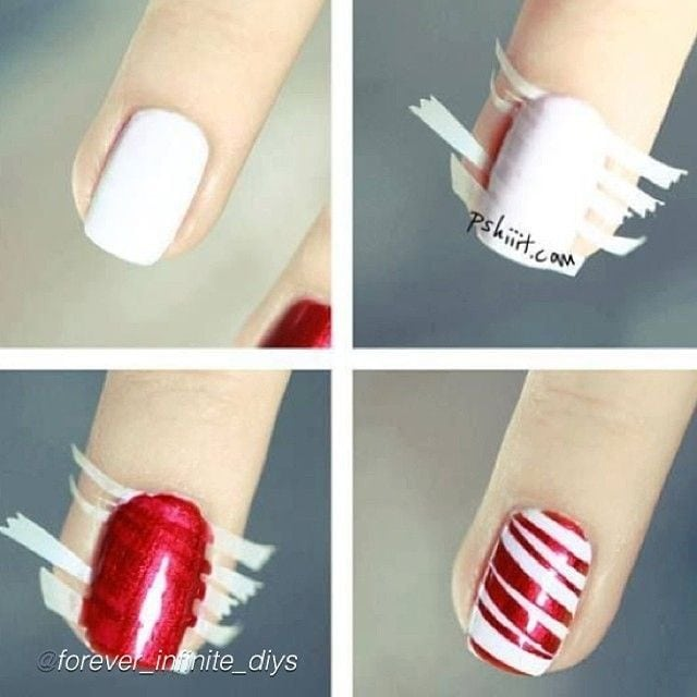 Red stripe or candy cane nail art – using small stripes of tape!