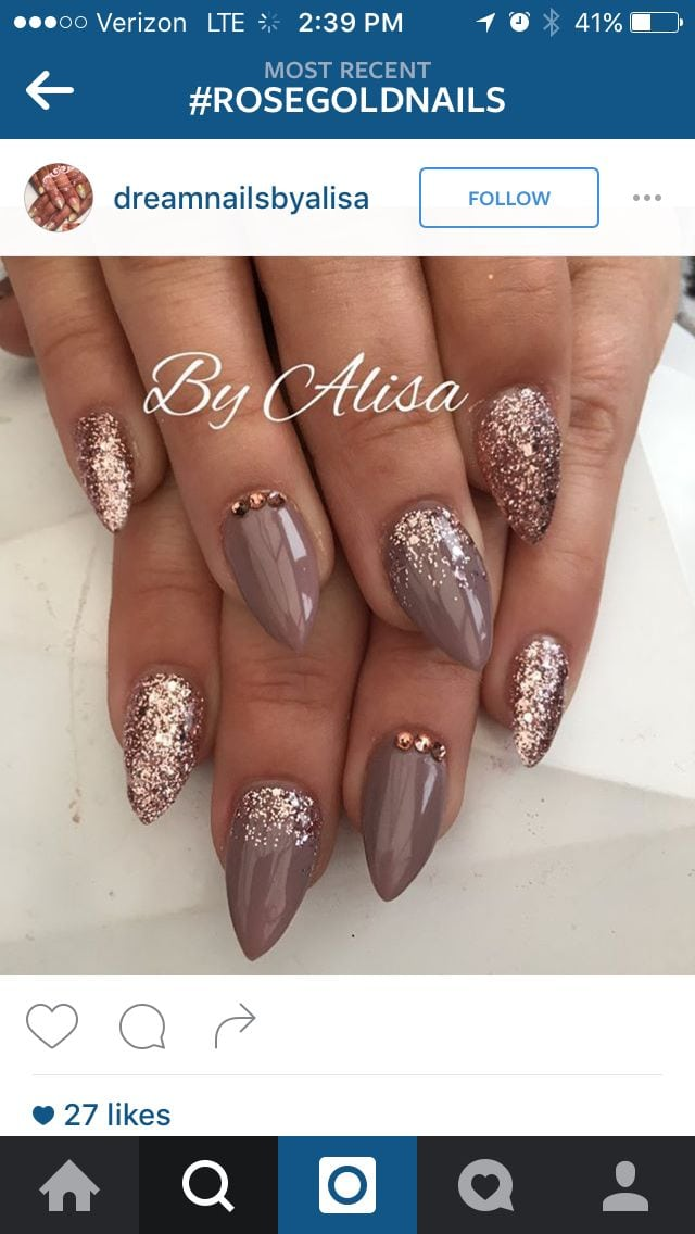 Rose Gold and Taupe Nail Design winter nails – amzn.to/2iZnRSz