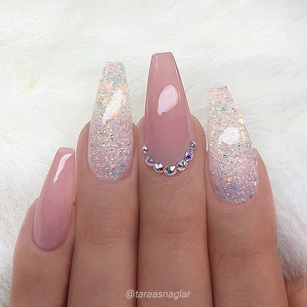 REPOST – – – – Pale Mauve-Pink and Glitter on long Coffin Nails with Crystal Accent – – – – Picture and Nail Design by @taraasnaglar Follow her for more gorgeous nail art designs! @taraasnaglar @taraasnaglar