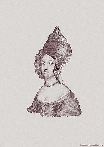 society6.com/jacquesmaes/Haute-Coiffure-6_Print    Website | Facebook  Posté par Jaakie201  sur 2013-04-23 13:32:49      Tagged:  , art , prints , portraits , vintage , shell , hat , hair , coiffure , haute ,…
