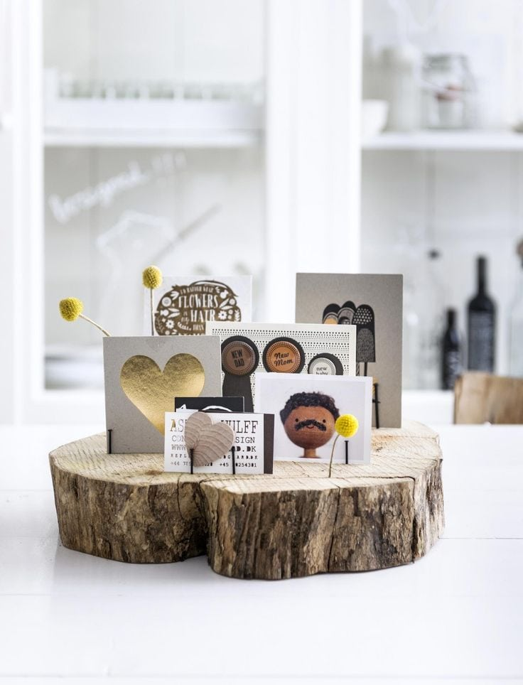 If a block … we fell for this super simple idea: create a beautiful place for tickets and photos by simply to save a few nails into the wood – piece of a tree – DIY