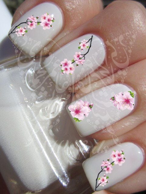 Nail Art Cherry Blossoms Japanese Tree Sakura Nail Water Decals Transfers Wraps door SWNails op Etsy www.etsy.com/…