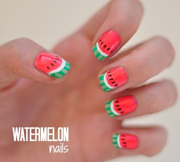 Fun watermelon nails tutorial #nails #mani #nailart #summernails