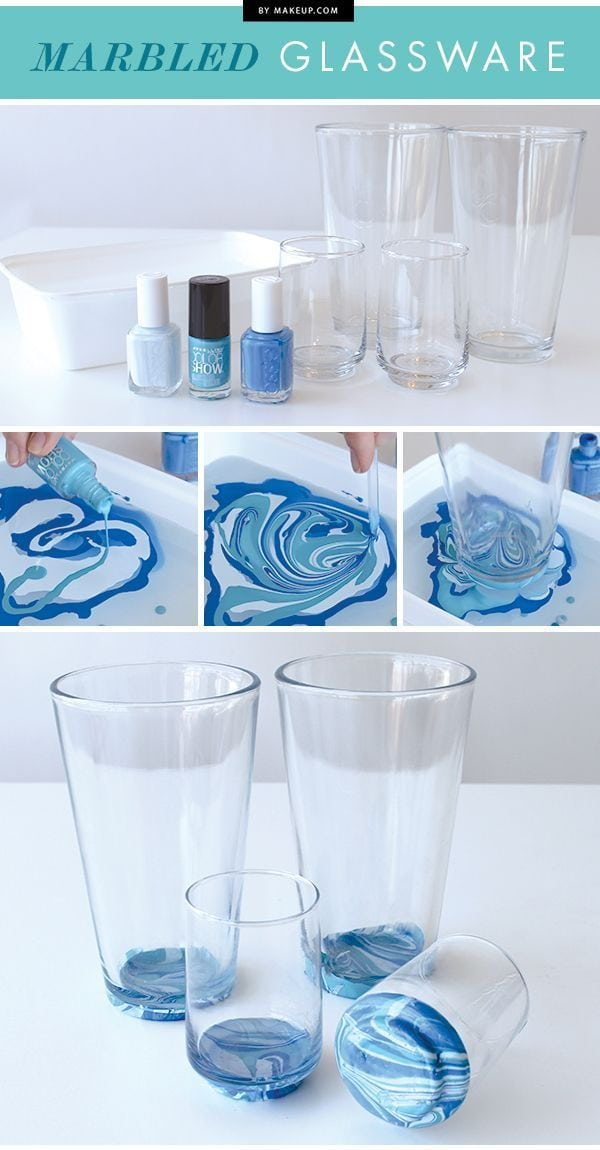 3 clever crafts you can do with nail polish – Marbled glassware Source by Sisca1988   …