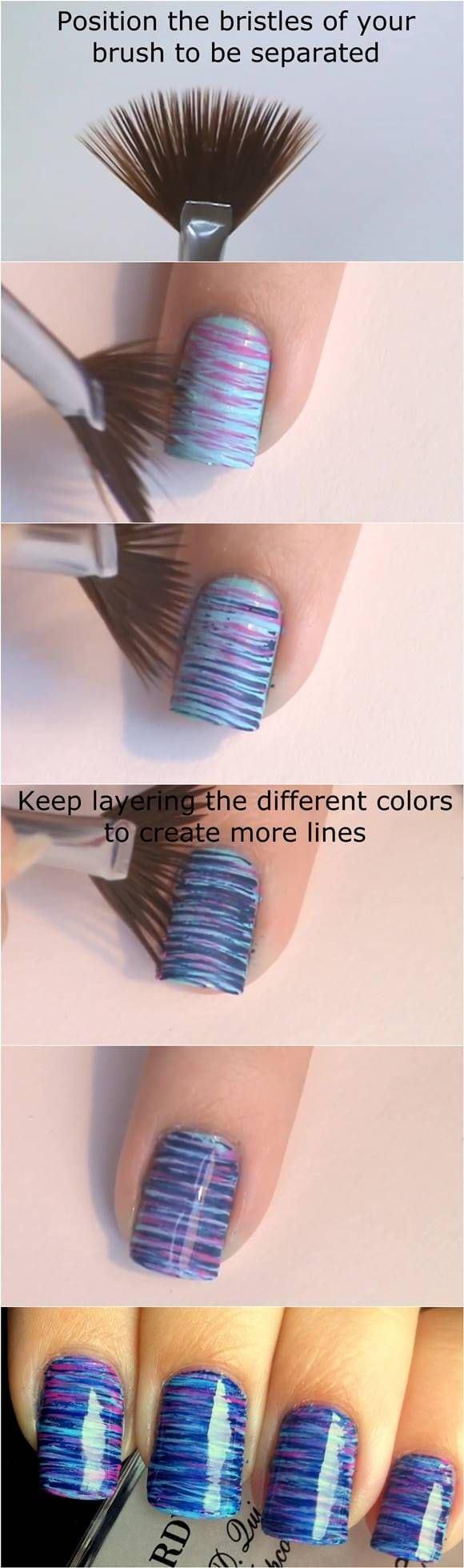 How to DIY Blue and Pink Fan Brush Striped Nail Art #fashion #beauty #nail_art Source by miranda1968   …