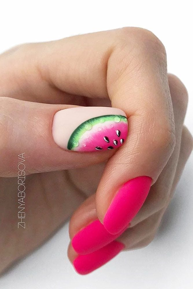 Pink Matte Nails With Watermelon Art #pinknails #mattenails Easy, cute and fun summer nail designs are waiting for you to get  inspired with. Make sure that you greet the beach season right!  #summernaildesigns #nails #nailart