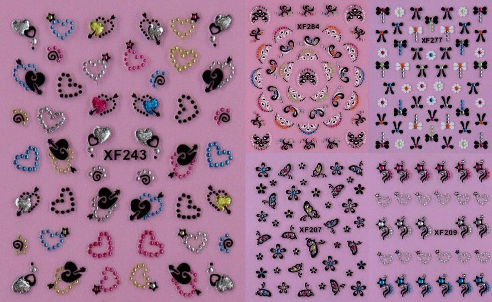 Strass Noir Papillon Fleurs Coeur 3D Art D'Ongle Autocollants Acrylique UV  Price : 1.10  Ends on :   Voir sur eBay   …