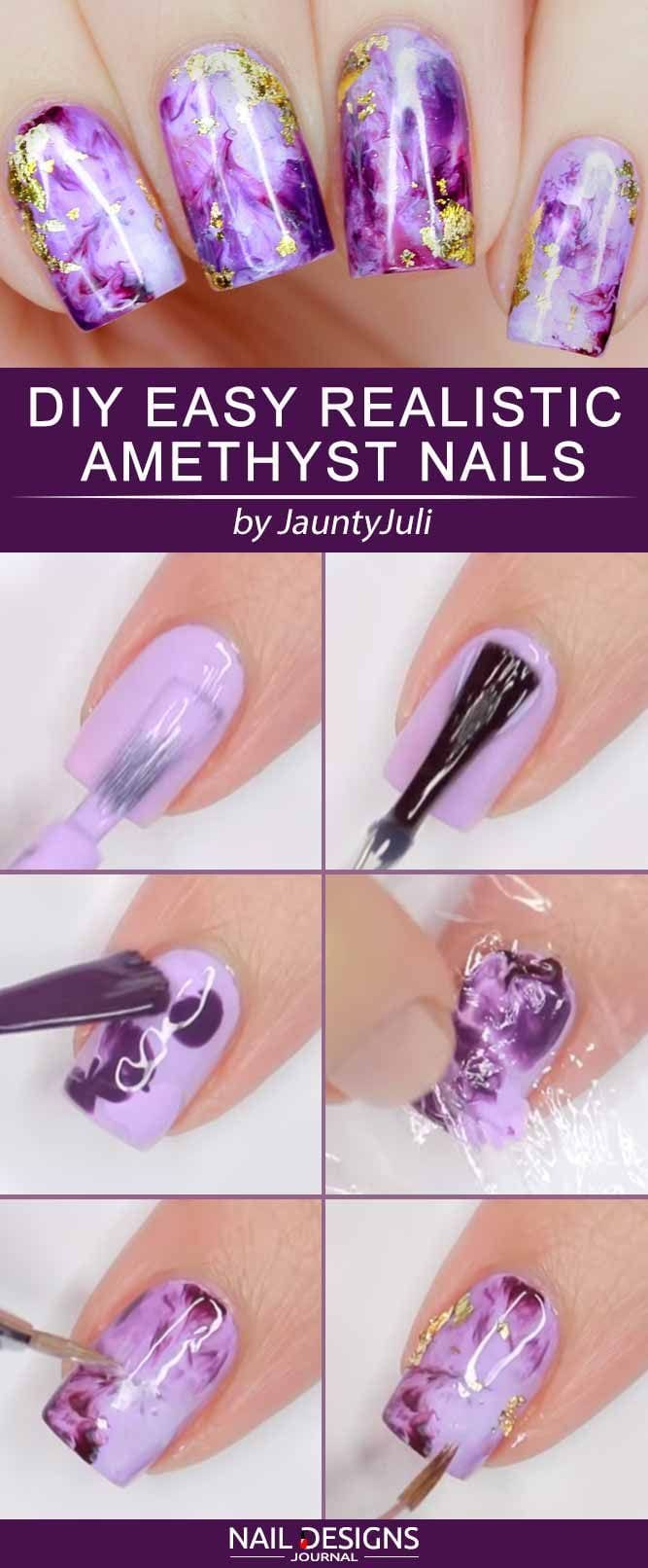 DIY Easy Realistic Amethyst Nails #amethystnails #marblenails #purplenails #foilnails #squarenails ❤️ There are so many DIY nails ideas out there and we did our best to gather the trendiest ones here. ❤️ See more: naildesignsjourna… #naildesignsjournal #nails #nailart #naildesigns #diynails…