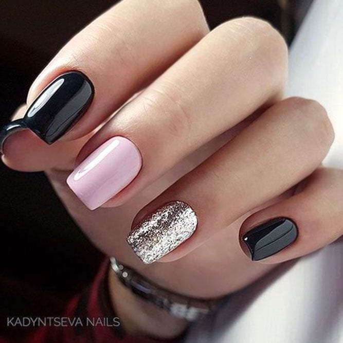 Two Tone Nails #blacknails #pinknails ❤️ When it comes to season nails, you should in no case neglect them. Besides, we know everything about what you need just right the season is about to hit! ❤️ See more: naildesignsjourna… #naildesignsjournal…
