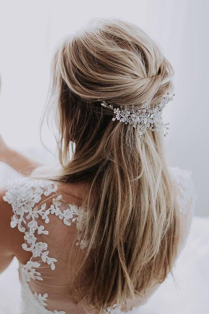 half up half down wedding hairstyles ideas volume with hairpin nicoledrege via instagram Source by teuntjeb   …
