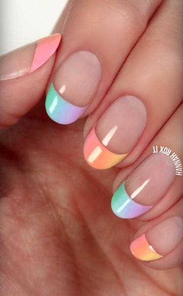 pastel French tip manicure Source by suus3779   …
