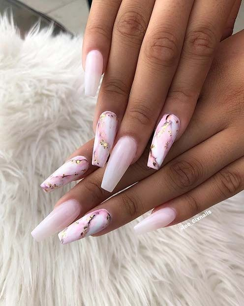 Long, Marble Coffin Nails Source by nishkalove   …