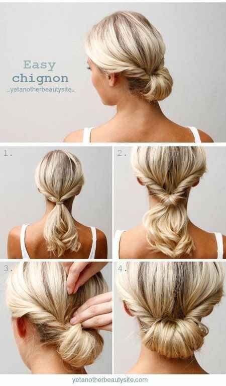 Do a topsy tail (inverted ponytail) and tuck the ends in to make an easy chignon. Source by elaibaby   …