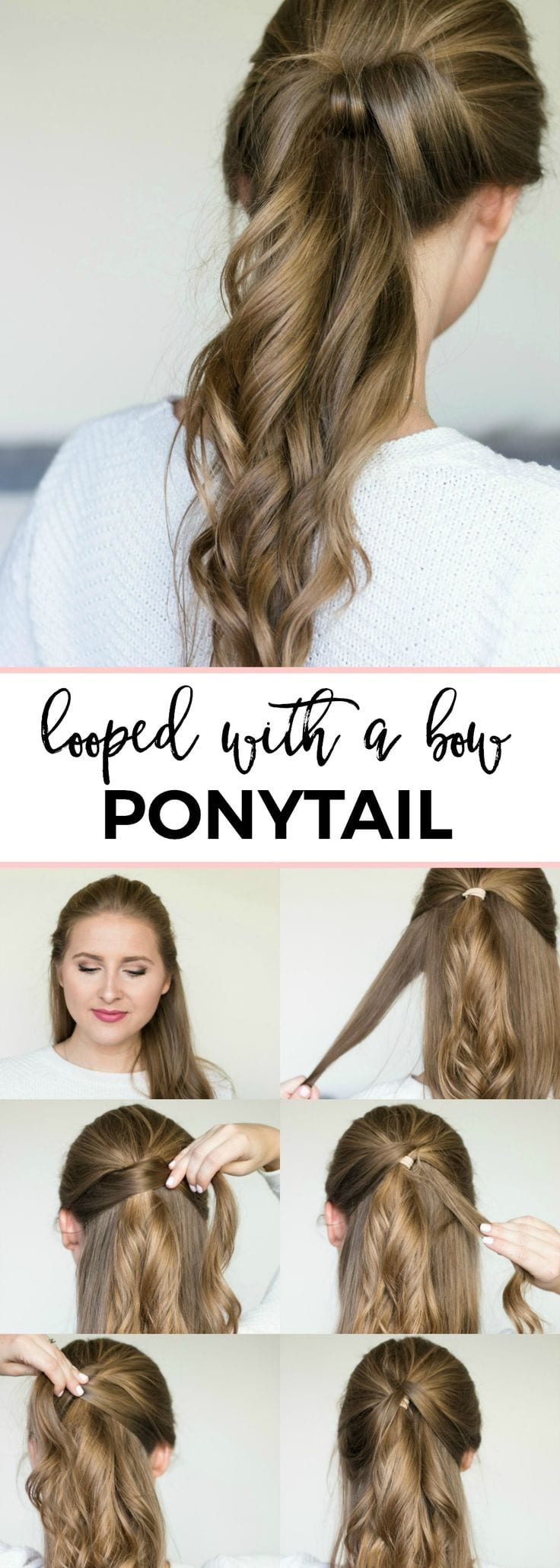Looped with a bow ponytail –  easy 5-minute hair tutorial | Fancy looped ponytail with loose waves hair tutorial | Quick and easy, no-heat hairstyle tutorials with beauty blogger Ashley Brooke Nicholas + the best shampoo and conditioner for…