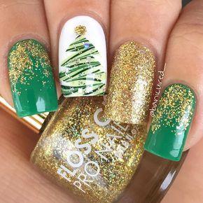 Green and Gold Christmas Tree Glitter Nail Art Source by sandrinajamieso   …