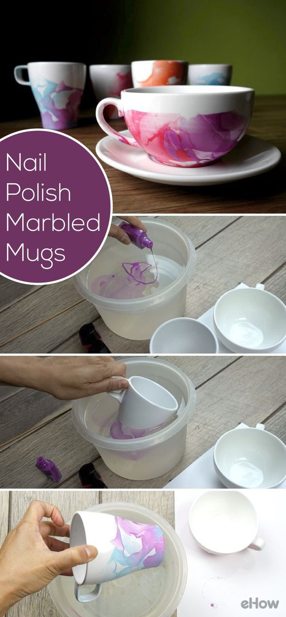 A whole new meaning to nail polish art! Did you know you can make marbled mugs using nail polish and water? So beautiful and easy to DIY, you'll make so many of these in one afternoon.  www.ehow.com/…