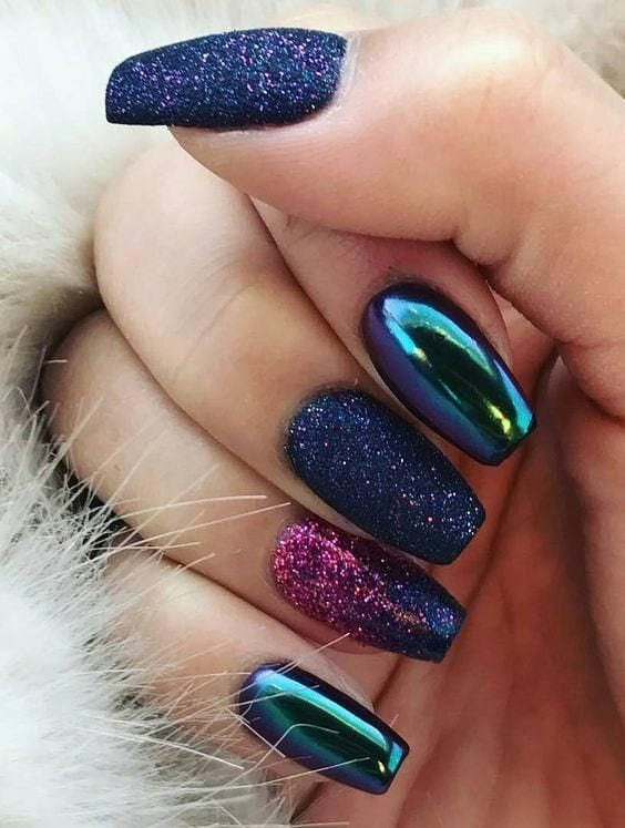 Glitter and Mirror Nail Design. 50+ Inspiring Fashion and Beauty Ideas You Will Fell In Love With