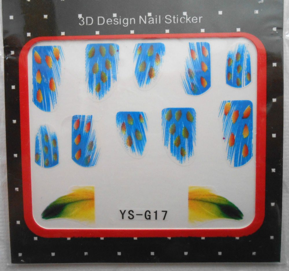 1 Paquet de Stickers Pour Ongles PLUMES Bleu tacheté Jaune V-Réf.: YS-G17   Price : 1.49  Ends on :   Voir sur eBay   …