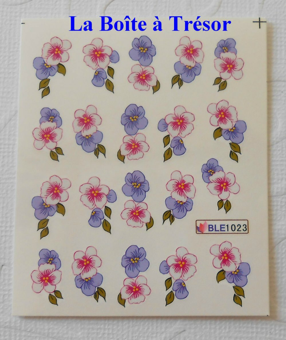 Nail Art – Stickers pour Ongles Water Decal Fleurs Réf. BLE1023