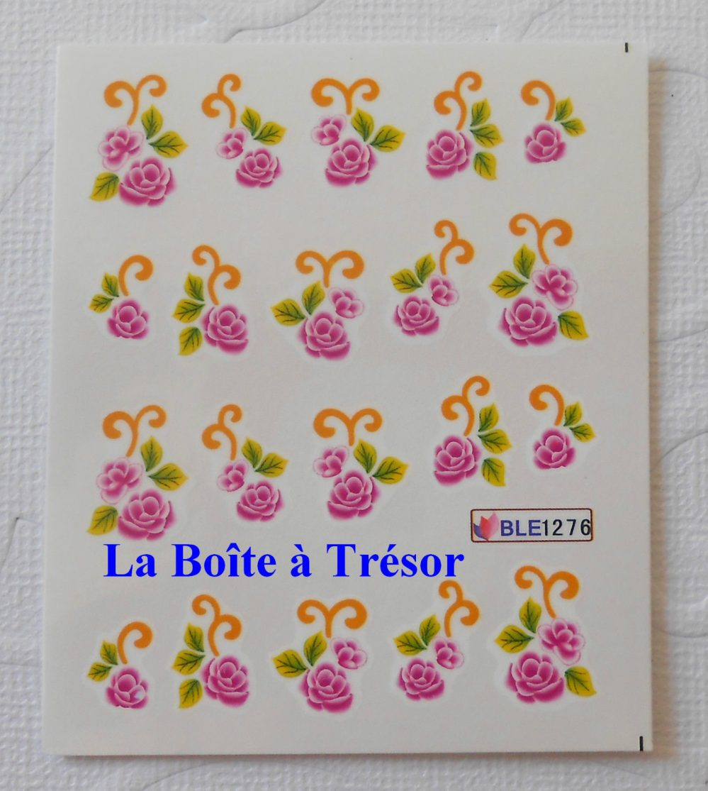 Nail Art – Stickers pour Ongles Water Decal Fleurs Réf. BLE1276