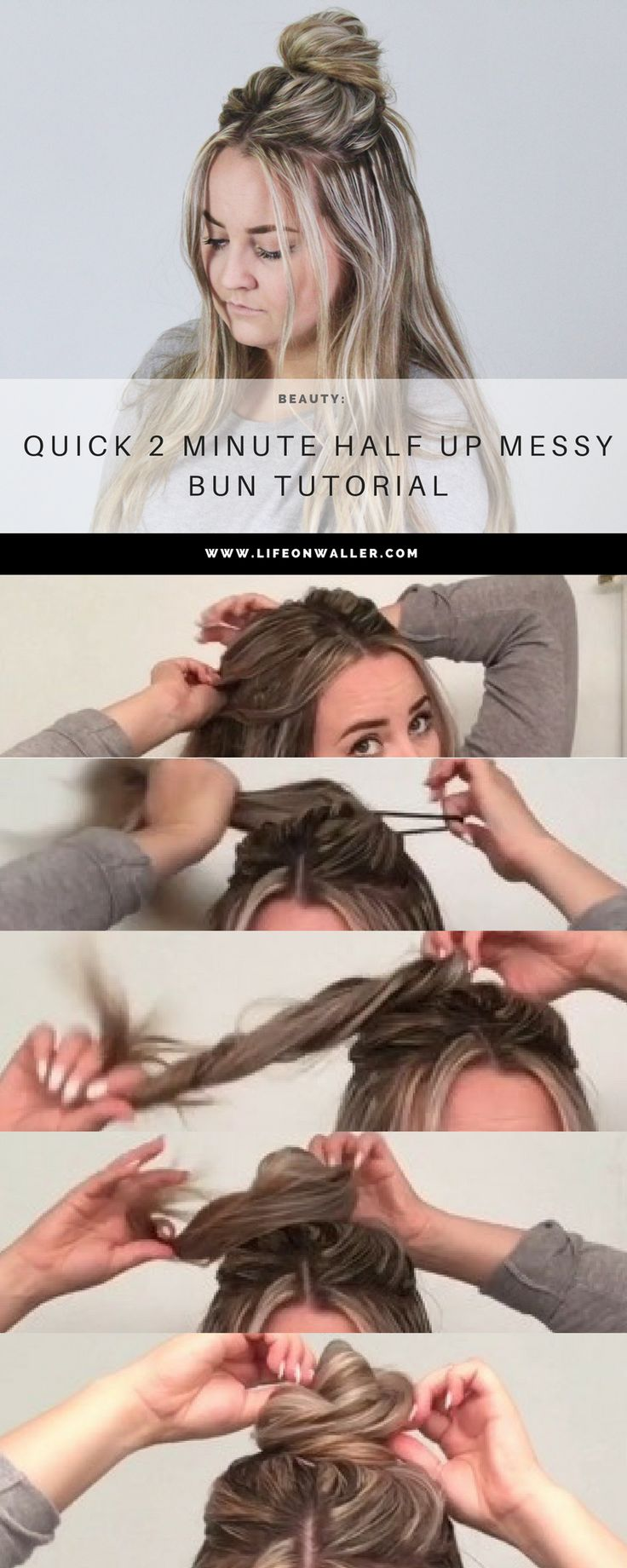 This is a super stylish and trendy half up hairstyle that is quick and easy to do! All you need is 2 minutes for this half up messy bun! Messy bun, easy up do, trendy hairstyle, long hair, short hair,…