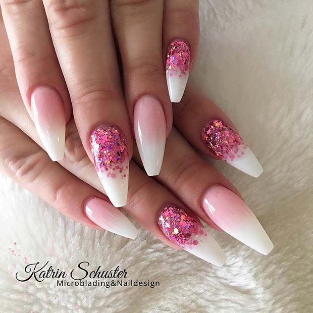 Glitter Pink and White Ombre Nails Source by SamJazzLeah   …