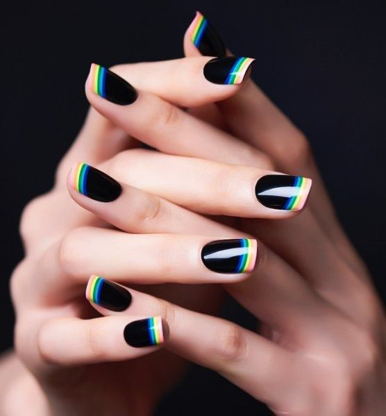 Eye-Catching #blacknails #rainbow #manicure #frenchtips #nails #summernails #frenchnails