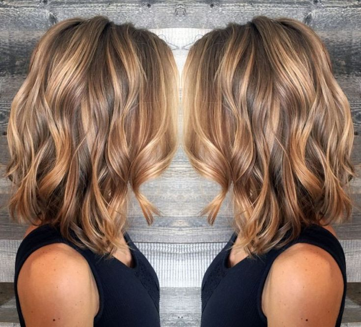 Brown Lob With Caramel Highlights Source by margo5   …