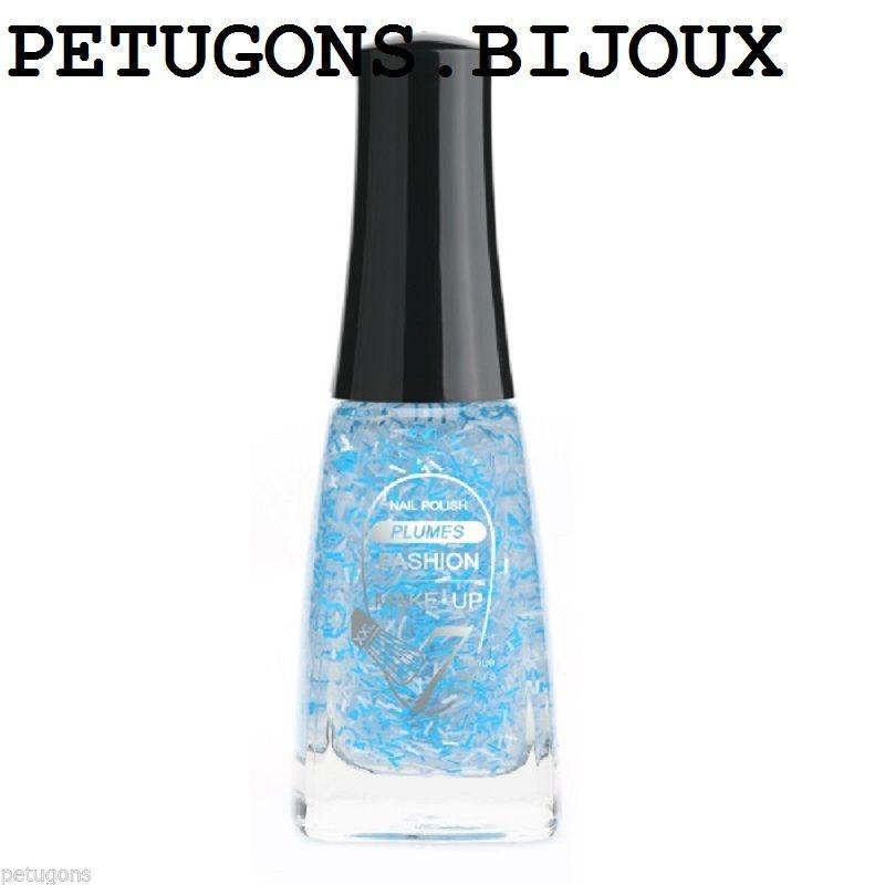 """Vernis à ongles"""" """"transparent à plumes bleu"""",durée 7 jours,neuf  Price : 5.90  Ends on :   Voir sur eBay   …"""