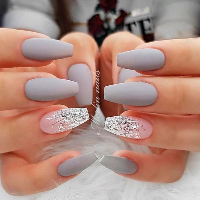 Matte Grey Nails With Glitter Accent #mattenails #glitternails ❤️ A design with accent nails is definitely not something brand new. Yet, we cannot stop opting for it. Why? Because we love emphasizing our individuality. ❤️ See more: [post_link] #naildesignsjournal  Source…