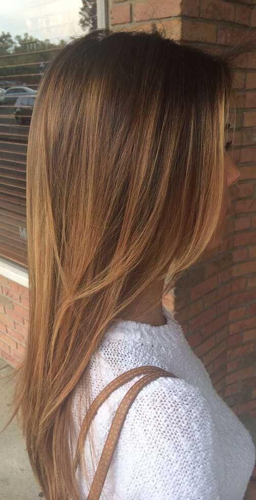 25 Best Hairstyle Ideas For Brown Hair With Highlights: straight brown layered hair with golden brown highlights Source by belletag   …