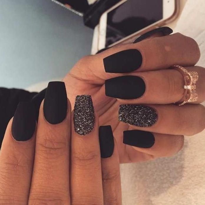 35 Most Popular And Stunning Acrylic Night Black And Matte Night Black Nails Design You May Love – Nail Idea 02 . ♥   ♥ #nails ♥ #blacknails ♥ #nailsdesign ♥ #nailsart ♥ 