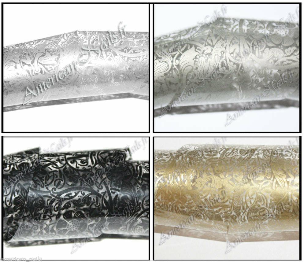 4 x Rouleau Foils Nail Art Foil decor ongle Dentelle Noir Argent Or Etain 150 cm  Price : 8.90  Ends on :   Voir sur eBay   …