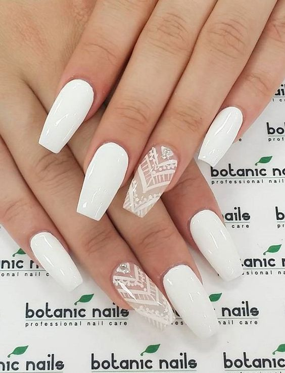 Even with the simple whit nail polish, you can actually see how stunning it would make you look like. But you can accentuate your nail art with a great pattern and a diamond stone. Source by becatina   …