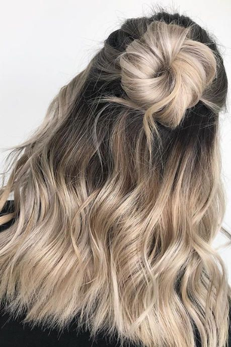 Creamy Blonde ombre half up half down bun Source by ElisMom808   …