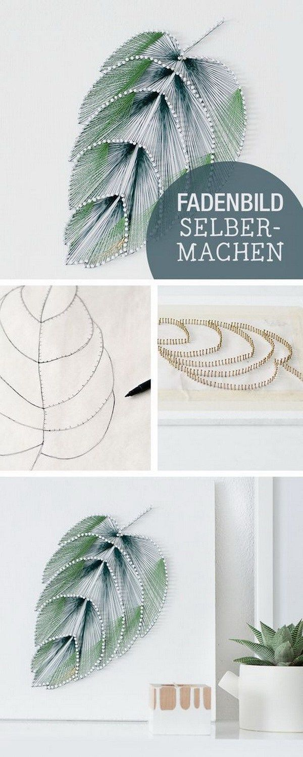 DIY Thread Leaf Wall Art. Wall art doesn't have to be expensive to look good. Create this elegant leaf wall art with thread and nails and add a touch of elegance to your living space. Source by nv27816   …