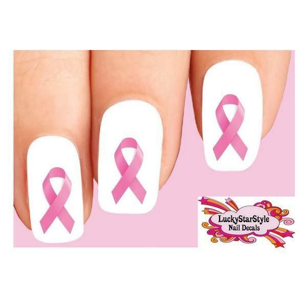 Waterslide Ongle Décalques Set Of 20 – Rose Sein Cancer Ruban