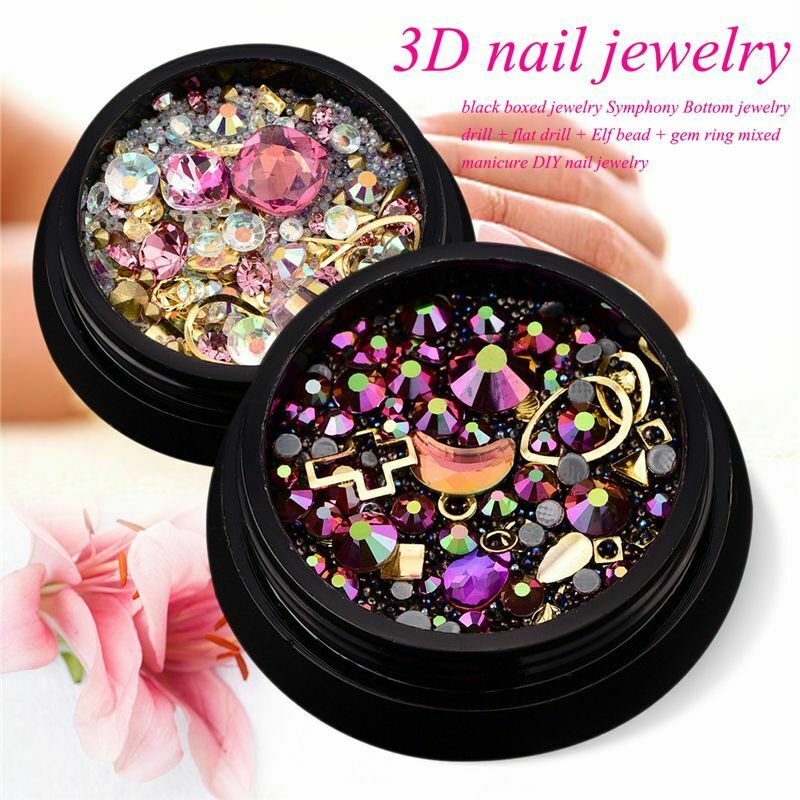 2 Boites 3D Bijoux a ongles Pointe acrylique melangee coloree Diamant plat  X1Z8
